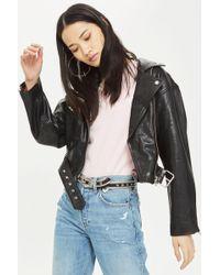 TOPSHOP - Boxy Leather Biker Jacket - Lyst