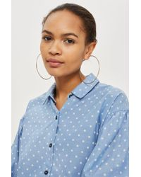 TOPSHOP - Chambray Star Printed Shirt - Lyst