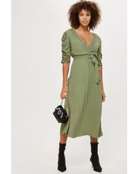 TOPSHOP - Embroidered Ruched Sleeve Dress - Lyst
