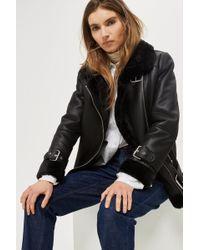 44f8000211c7 TOPSHOP Faux Leather Biker Jacket in Black - Lyst