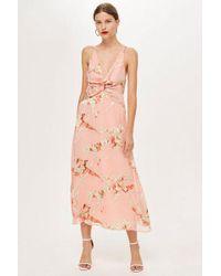 TOPSHOP - Tall Twist Front Burnout Dress - Lyst