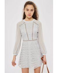 TOPSHOP - Lace Up Shoulder Mini Dress - Lyst