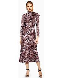 TOPSHOP - Leopard Bias Pussybow Dress - Lyst