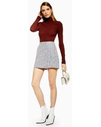 TOPSHOP - Silver Button Boucle Skirt - Lyst