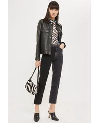 TOPSHOP - Ashed Black Colour Block Straight Jeans - Lyst