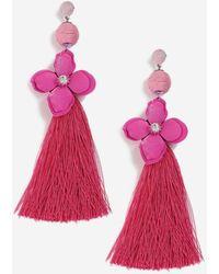 TOPSHOP - Rhinestone Flower And Tassel Earrings - Lyst