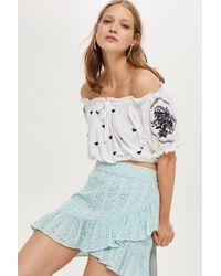 TOPSHOP - Broderie Ruffle Mini Skirt - Lyst