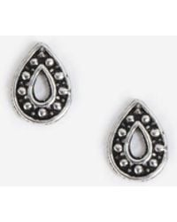 TOPSHOP - Sterling Silver Tear Etched Earrings - Lyst