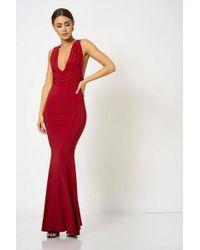 26594c725b8e Club L Cross Back Fishtail Maxi Dress By London in Red - Lyst