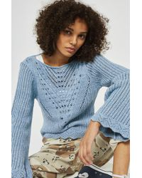 TOPSHOP - Stitchy Tie Back Flute Sleeve Top - Lyst