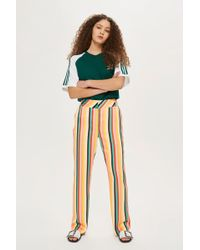 TOPSHOP - Rainbow Striped Wide Leg Trousers - Lyst