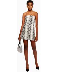 TOPSHOP - Snake Print Bandeau Dress - Lyst