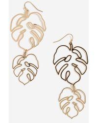 TOPSHOP - Cut Out Leaf Drop Earrings - Lyst