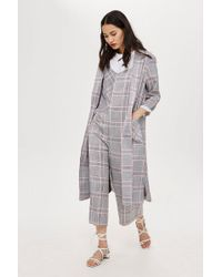 TOPSHOP - Checked Duster Coat - Lyst