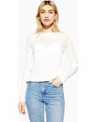 96e8585d8a6e4 Lyst - TOPSHOP Puff Sleeve Bardot Top in White