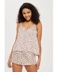 TOPSHOP - Spot Print Woven Camisole And Short Set - Lyst