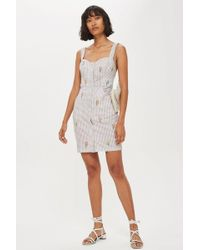 TOPSHOP - Petite Gingham Embroidered Pinafore Dress - Lyst