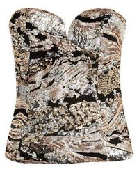 Wyldr - fly By Rose Gold Sequin Bustier Top By - Lyst