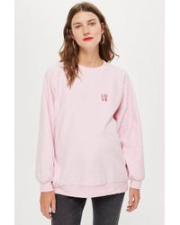 TOPSHOP - maternity Love Embroidered Sweatshirt - Lyst