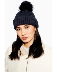 35b8e35a109 TOPSHOP - Tip Faux Fur Pom Pom Beanie Hat - Lyst
