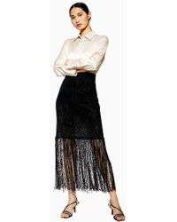 c1f29d831e TOPSHOP - Fringe Knit Skirt By Boutique - Lyst