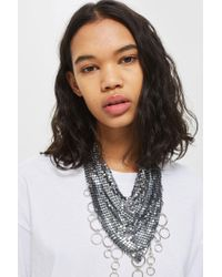 TOPSHOP - Ring Chainmail Necklace - Lyst