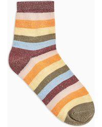 TOPSHOP - Ulticoloured Glitter Stripe Socks - Lyst