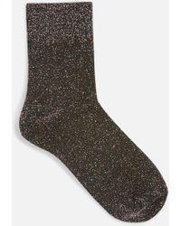 TOPSHOP - Deep Welt Glitter Socks - Lyst