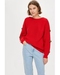 TOPSHOP - Red Button Sleeve Jumper - Lyst