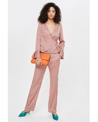 TOPSHOP - Stripe Slouch Trousers - Lyst