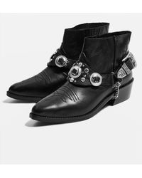 TOPSHOP - Axe Pointed Western Boots - Lyst