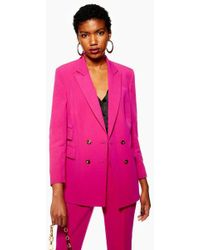 TOPSHOP - Petite Longline Double Breasted Jacket - Lyst