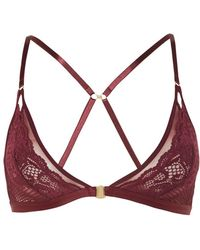 TOPSHOP - Lace And Mesh Triangle Bra - Lyst
