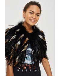 TOPSHOP - Astro Feather Collar Cape - Lyst