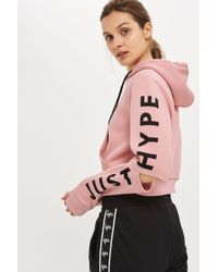 Hype - Dusty Pink Cropped Cut Out Hoodie By - Lyst