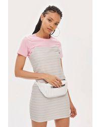 TOPSHOP - Striped Glitter Bodycon Dress - Lyst