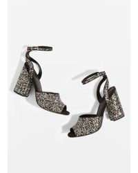 TOPSHOP - Rocky Glitter Block Heel Sandals - Lyst