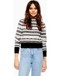 Lyst - TOPSHOP Reverse Fair Isle Sweater - Save 71% 50098eadb