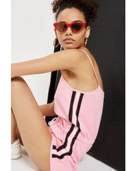 TOPSHOP - Side Striped Playsuit - Lyst