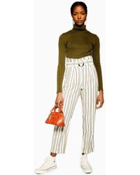 TOPSHOP - Stripe Belted Peg Trousers - Lyst