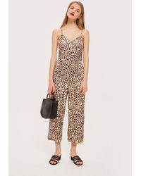 TOPSHOP - Animal Print Jumpsuit - Lyst