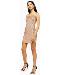 TOPSHOP - Sequin Cowl Mini Dress - Lyst