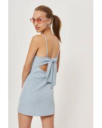 TOPSHOP - Petite Gingham Mini Pinafore Dress - Lyst