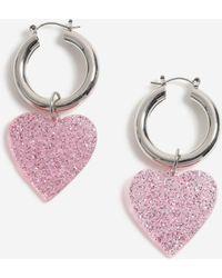 1efb073ec TOPSHOP Glitter Resin Drop Earrings in Red - Lyst