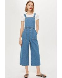 TOPSHOP - Petite Wide Cropped Leg All In One - Lyst