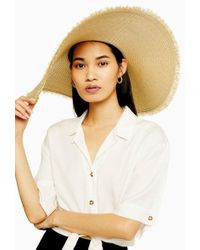 TOPSHOP - Frayed Oversized Straw Hat - Lyst