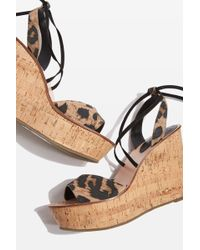 TOPSHOP - White Ankle Tie Wedges - Lyst