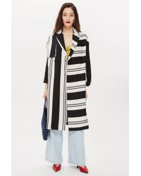 TOPSHOP - Linen Striped Duster Coat - Lyst