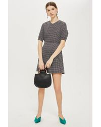 TOPSHOP - Textured Seam Mini Dress - Lyst