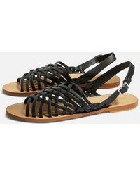 TOPSHOP - Hoxford Leather Weave Sandals - Lyst